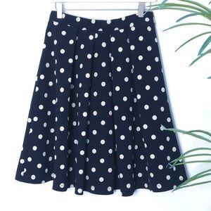 Le Lis  Navy Polka Dot Full Pleated Swing Skirt